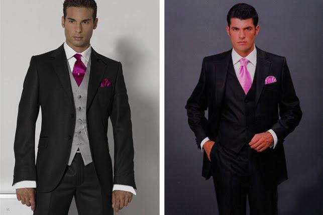 traje negro corbata rosa