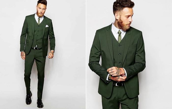 corbata verde con traje verde