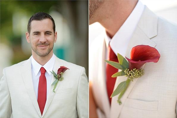 traje blanco corbata roja
