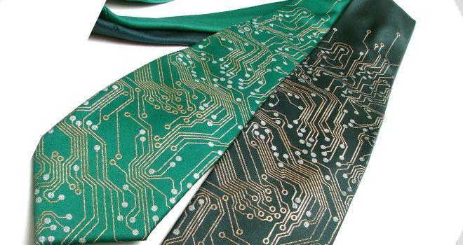 corbatas tecnológica en forma de circuitos