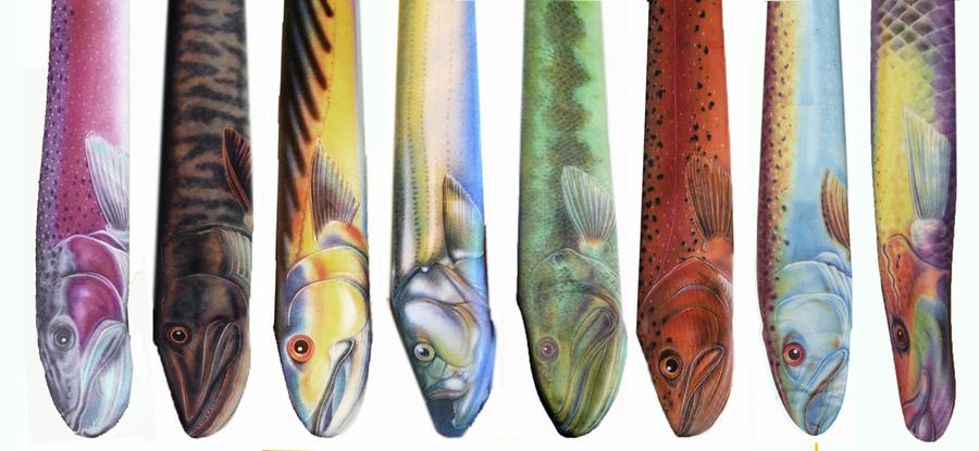corbatas en forma de peces