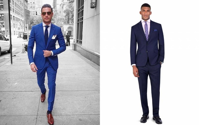 calzado para traje azul